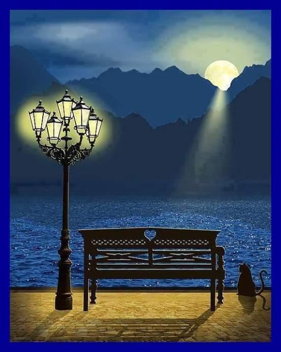 El banco iluminado por la luna