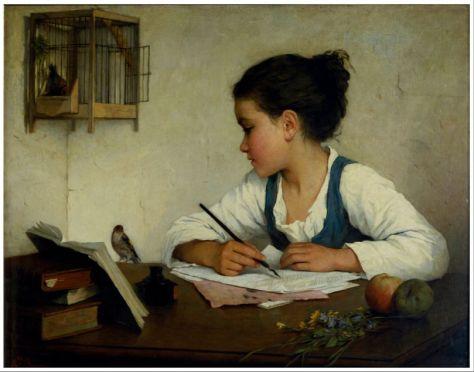 Una niña escribiendo; El jilguero. Santiago Pérez Malvido.jpg