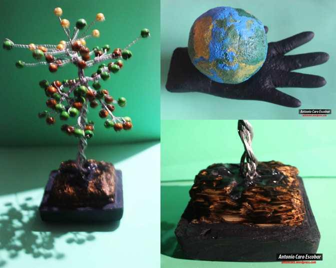 Mano con globo terráqueo – árbol de alambre en pedestal tallado